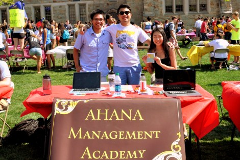 (L-R) Peter Soewardiman, Raphael Posadas, and Cindy Park at 2014 Student Involvement Fair on Friday, Sept. 5, 2014 in front of Stokes Hall.