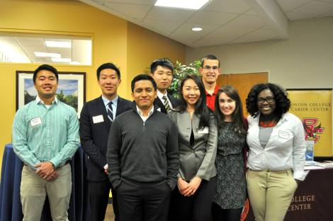 (L-R) AMA E-Board Raphael Posadas, Jerry Hou, Omar Morales, Andrew Lim, Cindy Park, Josh Reed, Rachel Rzeznik, and Tabitha Joseph at AHANA Networking Night on Thursday, Mar. 12, 2015 in Walsh Function Room.
